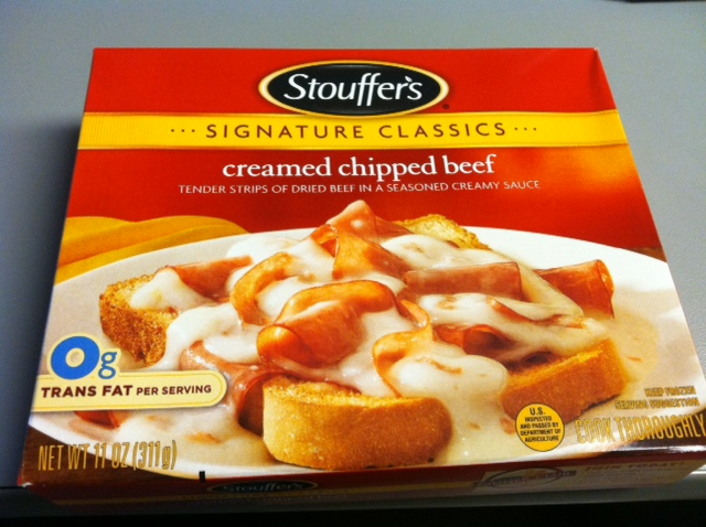 Of all of the possible meals for Stouffer's to freeze and offer with their selections, CHIPPED BEEF?! It just sounds like a crazy idea.