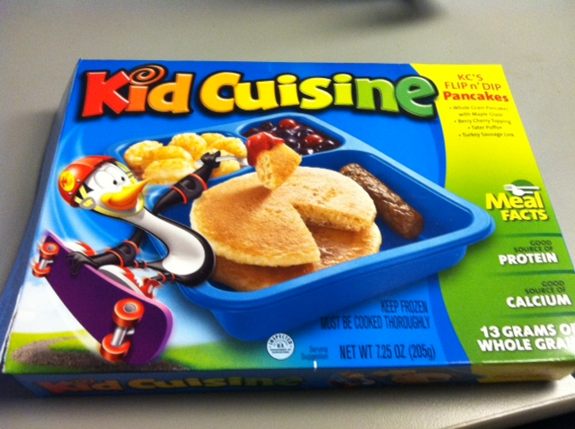Kid cuisine kc 39 s flip n 39 dip pancakes tasty lies frozen for 10 day try it lean cuisine