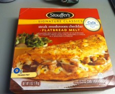 Heidi reviews the Stouffer's Steak, Mushroom, and Cheddar Flatbread Melt.  I can only imagine how delicious this one will be.