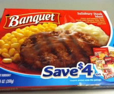 Today we take a look at Banquet's SALISBURY STEAK MEAL.  It's a frozen meal for the ages...The terrible, horrible ages.  Just say 'Oh No?'