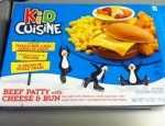 Today I go toe to toe with ANOTHER Kid Cuisine meal.  Beef Patty With Cheese And Bun?  The hell is that?