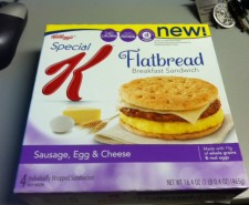 We're back and it's time for breakfast!  Marissa reviews the Sausage, Egg & Cheese flatbread sandwich from Special K!